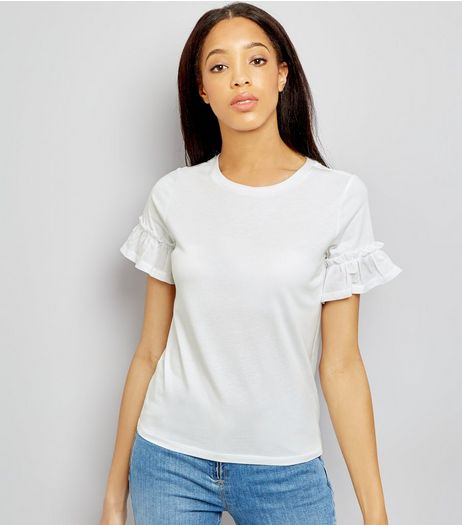 White Woven Frill Sleeve T-Shirt  | New Look