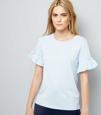 Pale Blue Woven Frill Sleeve Top