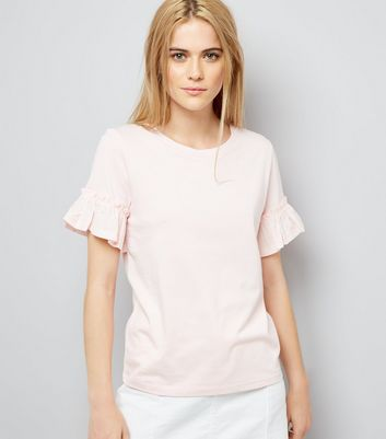Pale Pink Woven Frill Sleeve Top