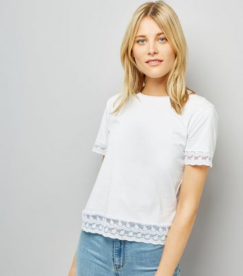 White Lace Trim T-Shirt