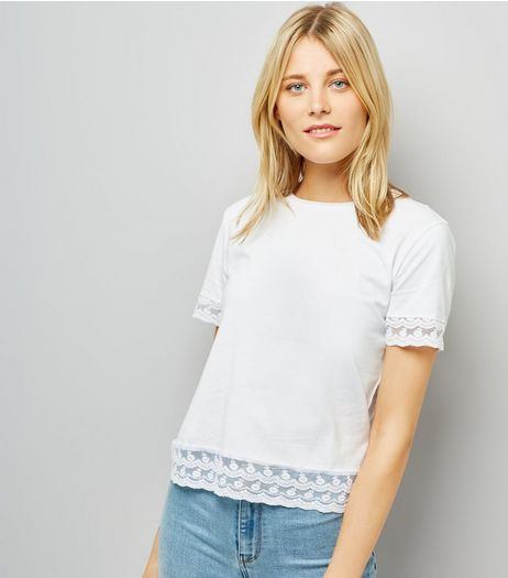 White Lace Trim T-Shirt | New Look