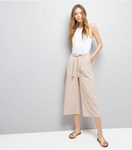Shell Pink Tie Waist Cropped Trousers | New Look