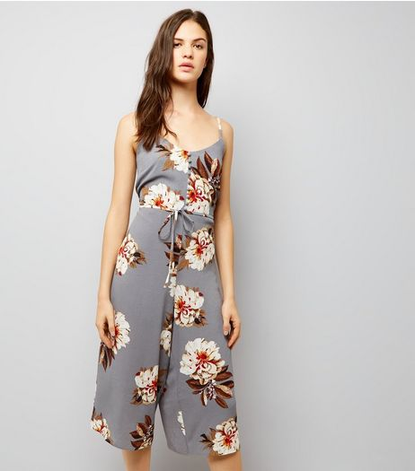 Cameo Rose Light Grey Floral Print Jumpsuit   | New Look