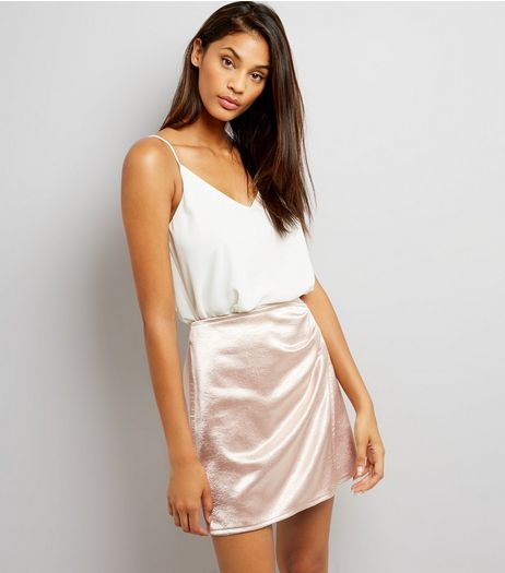 Rose Gold Metallic Ruched Side Mini Skirt | New Look