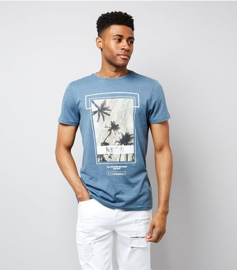 Blue Palm Tree Print T-Shirt | New Look