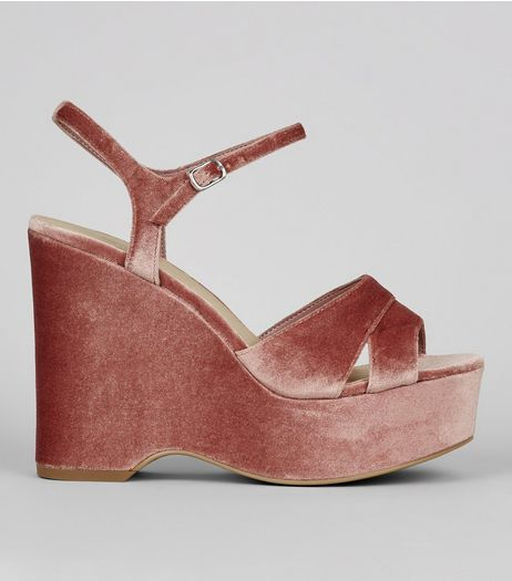Wide Fit Nude Pink Velvet Platform Wedge Heels  | New Look