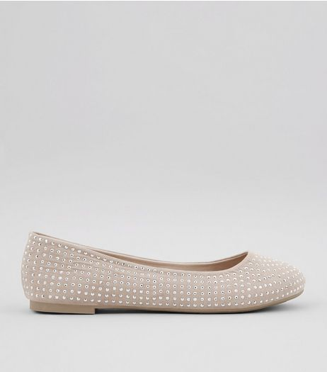 Wide Fit Cream Suedette Stud Detail Pumps | New Look