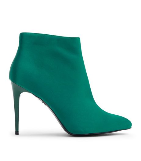 Green Satin Stiletto Heel Pointed Boots | New Look