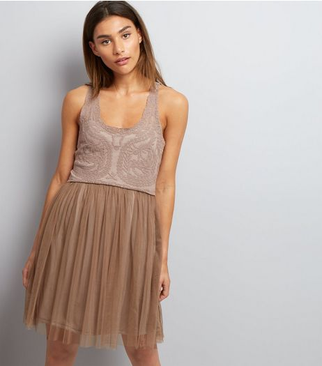 Apricot Stone Embroidered Mesh Tutu Dress | New Look
