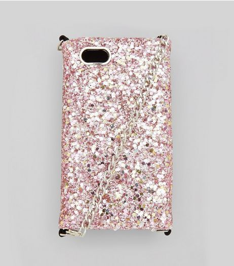 Pink Glitter iPhone 6/7 Purse Case | New Look