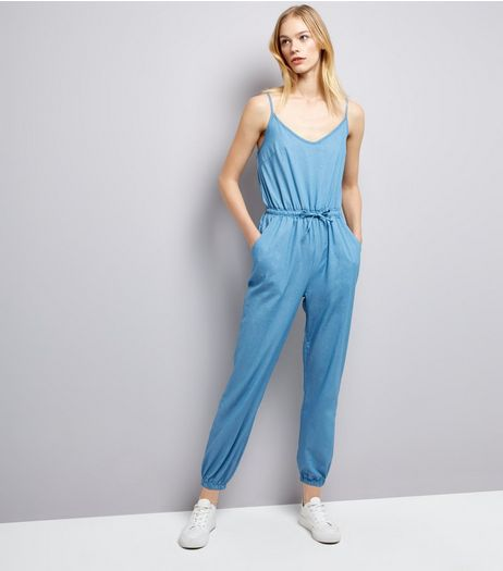 Apricot Blue Tie Waist Denim Jumpsuit  | New Look
