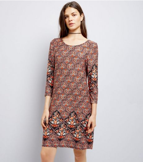 Apricot Brown Abstract Print Swing Dress | New Look
