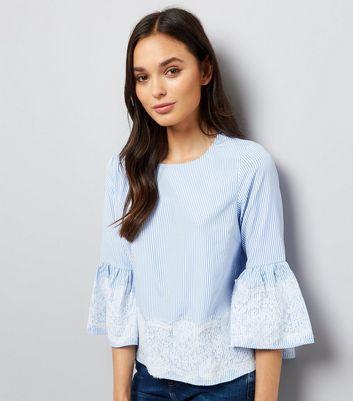 Blue Lace Trim Bardot Neck Top