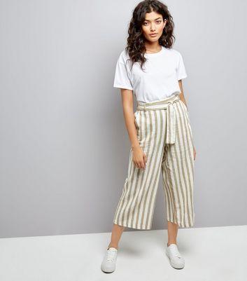 White Contrast Stripe Culottes