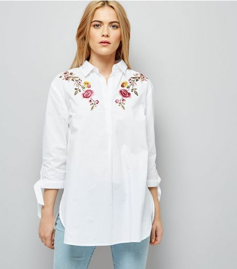 White Floral Embroidered Tie Sleeve Shirt | New Look