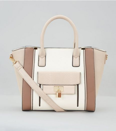 Cream Colour Block Structured Tote Bag | New Look