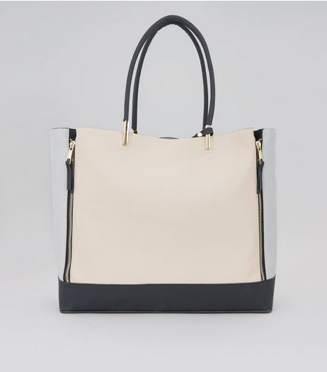 Shell Pink Colour Block Zip Side Tote Bag | New Look