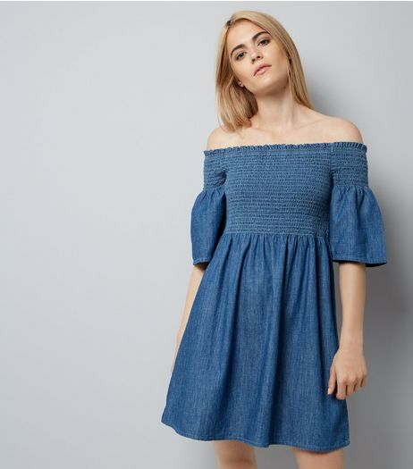 Blue Denim Shirred Bardot Neck Dress | New Look