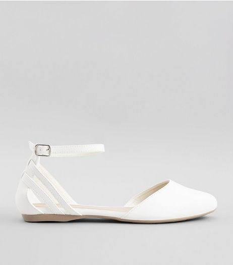 Wide Fit White Ankle Strap Pumps | New Look