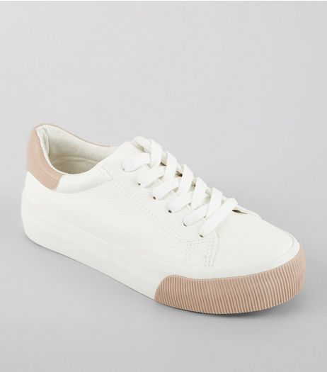 White Contrast Panel Chunky Sole Trainers | New Look