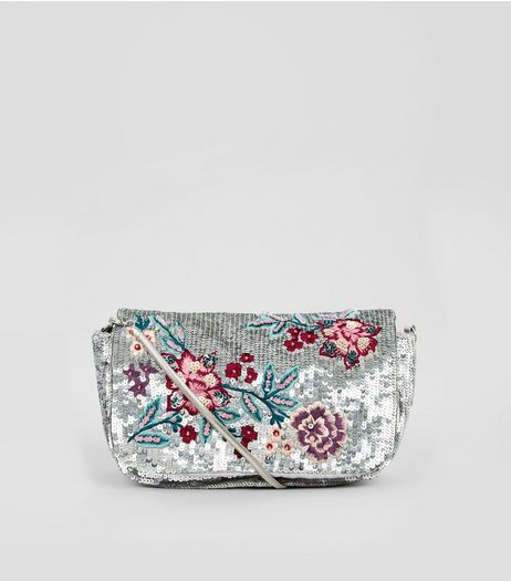 Silver Sequin Floral Detail Shoulder Bag | New Look