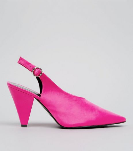 Wide Fit Pink Satin Pointed Cone Heels | New Look