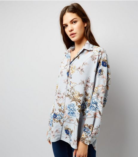 Cameo Rose Light Grey Floral Print Shirt  | New Look