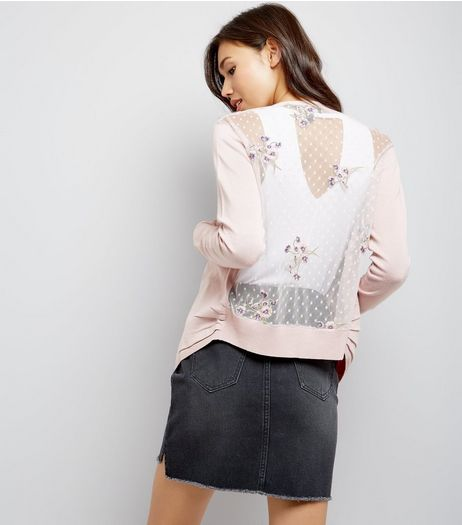 Shell Pink Floral Embroidered Mesh Back Cardigan | New Look
