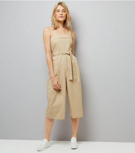 Stone Poplin Tie Waist Jumpsuit | New Look