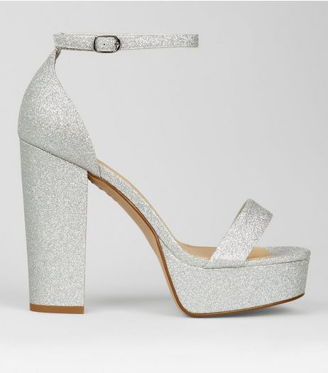 Wide Fit Silver Glitter Platform Heels  | New Look
