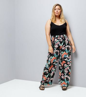 Curves Black Floral Print Wide Leg Trousers