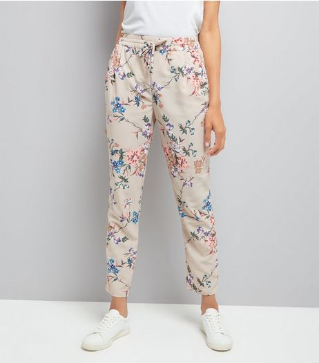 Stone Floral Print Tie Waist Trousers | New Look