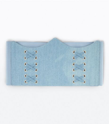 Denim Curved Hem Corset Belt | New Look