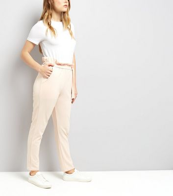 Cameo Rose Pink Paper Bag Tie Waist Trousers