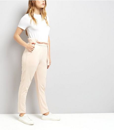 Cameo Rose Pink Paper Bag Tie Waist Trousers | New Look