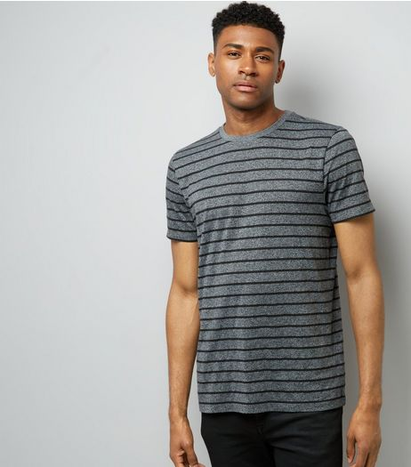 Grey Marl Stripe Crew Neck T-Shirt | New Look