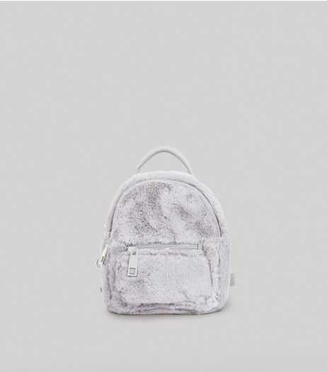 Grey Faux Fur Mini Backpack | New Look