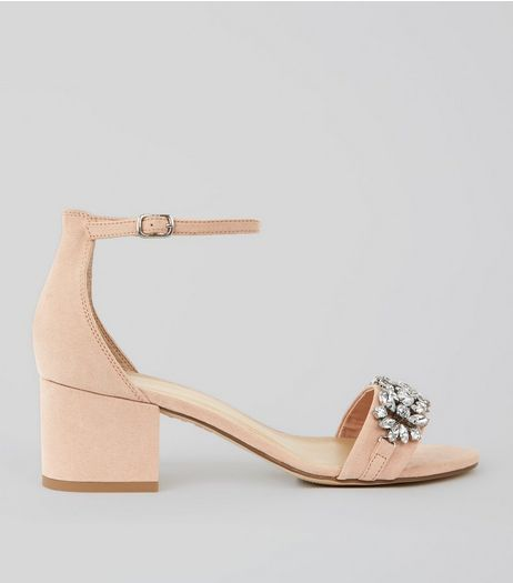 Cream Suedette Embellished Block Heel Sandals | New Look