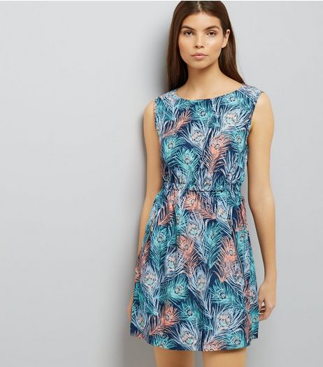 Apricot Turquoise Peacock Print Dress | New Look