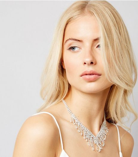 Silver Diamante Dropdown Bib Necklace | New Look