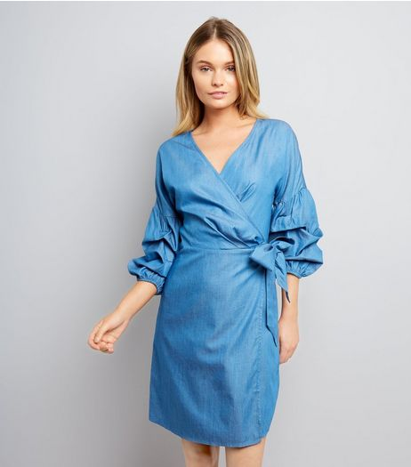 Blue Ruched Sleeve Wrap Dress | New Look