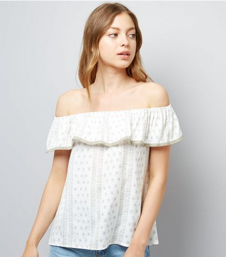 Apricot Stone Frill Trim Bardot Neck Top  | New Look
