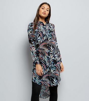 Apricot Blue Tropical Print Longline Shirt Dress