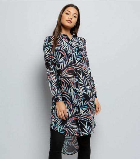 Apricot Blue Tropical Print Longline Shirt Dress | New Look