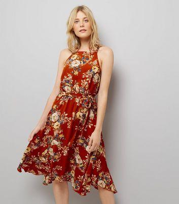 Red Floral Print Hanky Hem Midi Dress