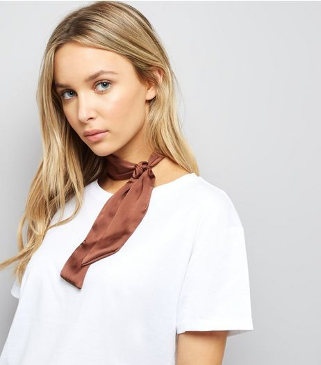 Brown Satin Necktie | New Look
