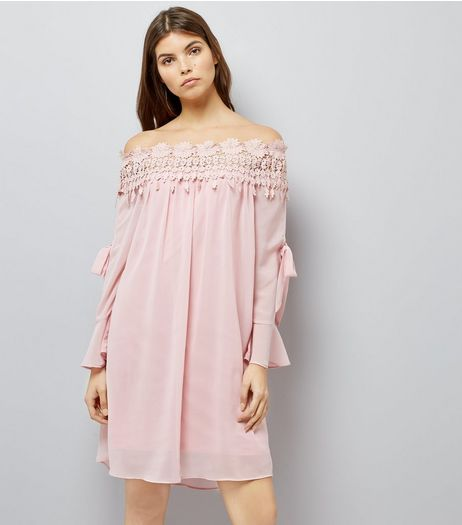 Cameo Rose Shell Pink Crochet Lace Bardot Dress | New Look