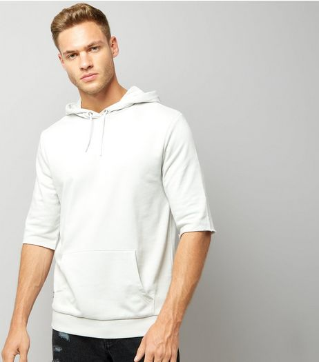 Pale Grey Half Sleeve Hoodie | New Look