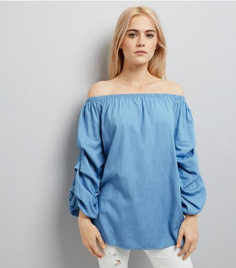 Pale Blue Ruched Sleeve Bardot Neck Top | New Look