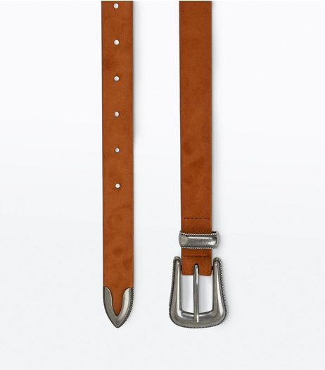 Tan Sleek Western Buckle Belt | New Look